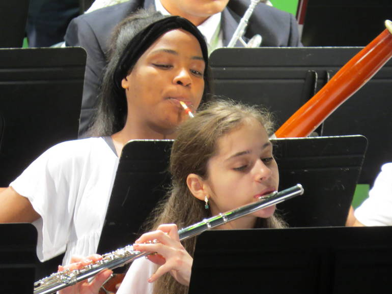 Isabella Sena-Cash of Scotch Plains and Tosin Olarewaju of Piscataway perform in the band.