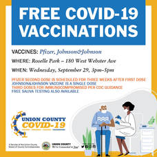 Additional Pop-Up COVID-19 Vaccine Clinic in Roselle Park, September 29