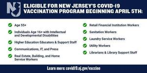 Vaccine eligibility in New Jersey  has been expanded to people age 55 and over.