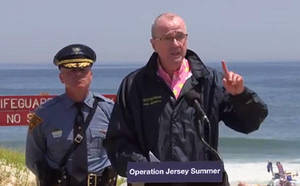 Gov. Phil Murphy (right) and State Police Colonel Pat Callahan.