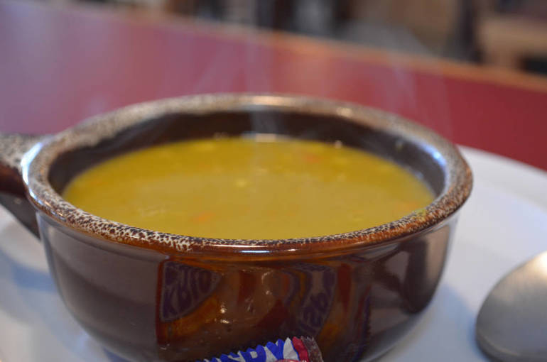 A steaming hot bowl of vegan split pea soup at The Fanwood Grille.