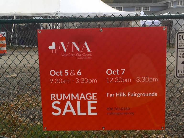 VNA Rummage Sale sign