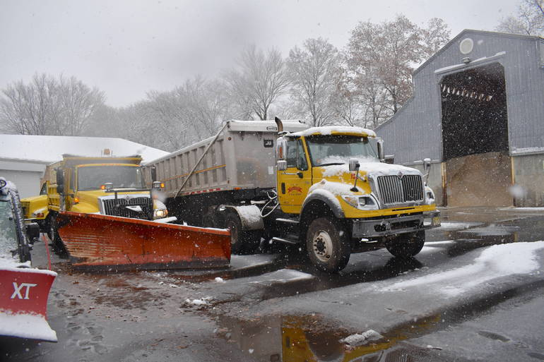 Snow plows are seen at the DPW yard in Westfield. (File Photo)