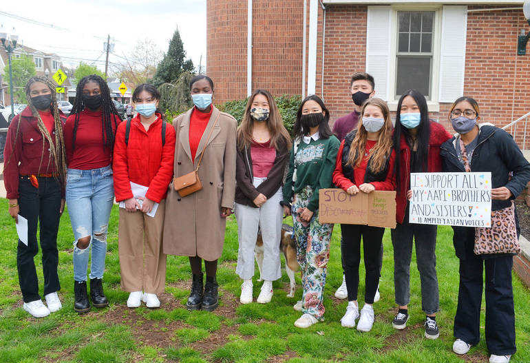 Young organizers of the Stop Asian Hate Rally in Scotch Plains on April 17, 2021.